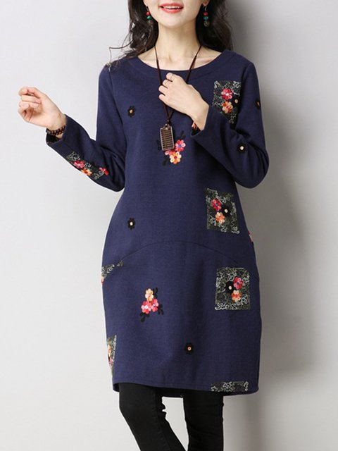 Cocoon Women Long Sleeve Casual Floral-embroidered Casual Dress