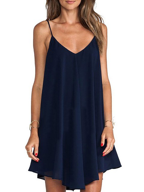 V neck Navy Blue  Women Daily Spaghetti Casual Paneled Summer Dress
