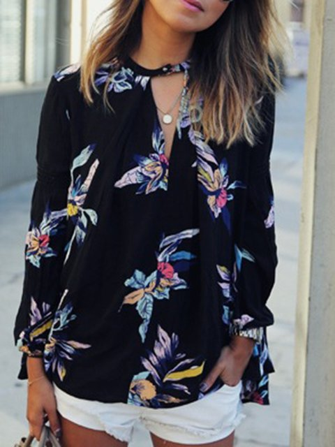 Floral-print Long Sleeve Plunging Neck Blouses  Shirt
