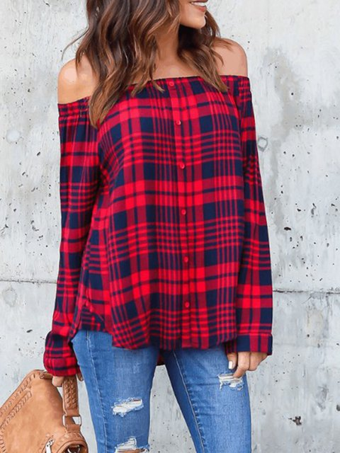 Checkered/Plaid Sexy Bateau/boat Neck Shirts  Blouse