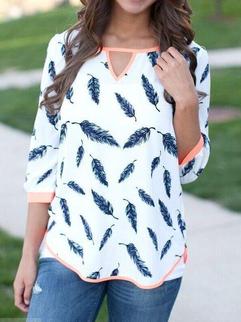 Cotton-blend Half Sleeve V-Neck Casual Leaf Blouses & Shirt
