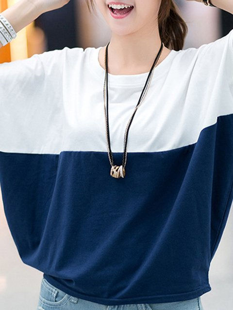 Casual Crew Neck Plain Polyester T-Shirt