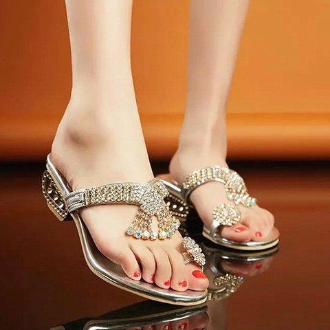 Casual Rhinestone Elegant PU Slippers