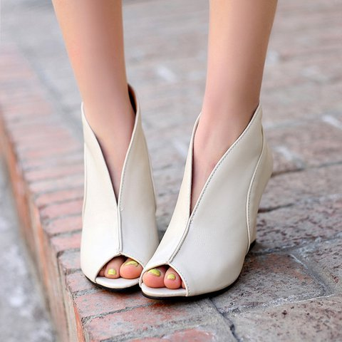Women Wedge Heel PU Pumps Fashion Shoes