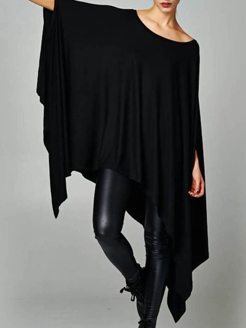 Asymmetric Crew Statement Batwing Shirt Plain T Neck wtq85Cp