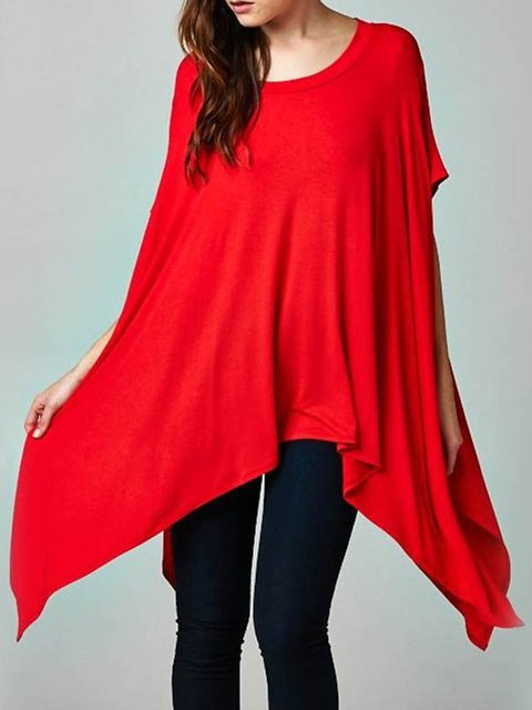 Plain Batwing Crew Neck Asymmetric Statement T-Shirt