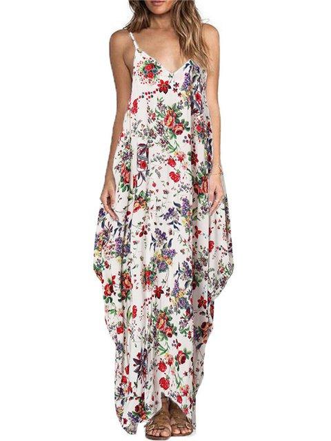 Off Shoulder  Asymmetrical Women Daytime Boho Spaghetti Asymmetric Floral Floral Dress
