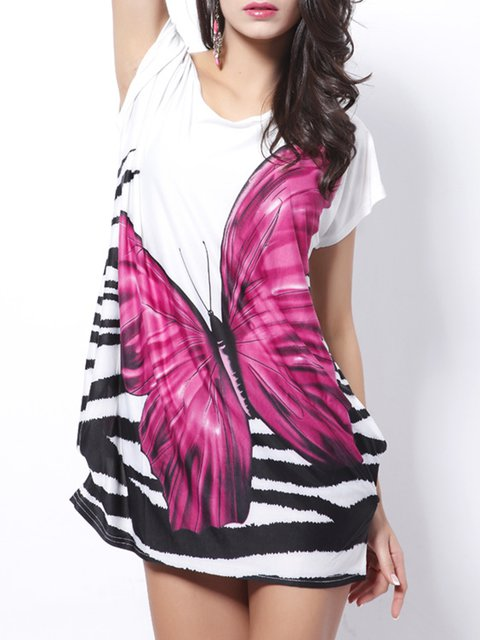 Shift Women Casual Short Sleeve Printed/Dyed Animal Summer Dress