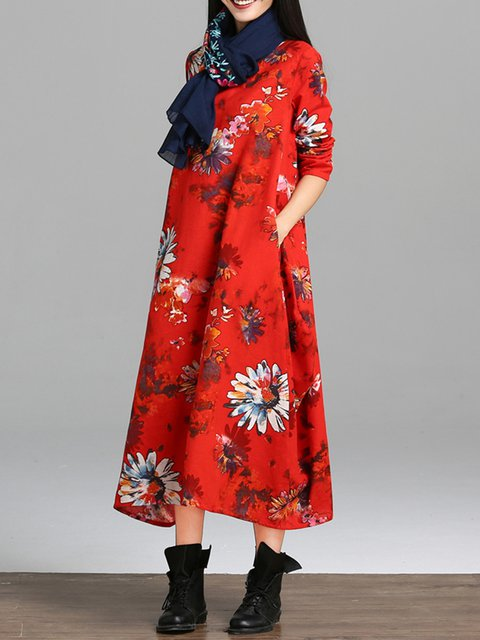 Cocoon Women Daily Long Sleeve Vintage Cotton Printed Elegant Dress