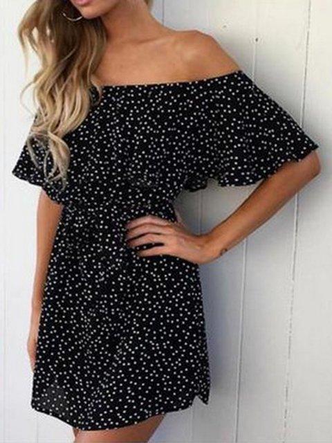 Off Shoulder Black  Women Half Sleeve Casual Printed Polka Dots Floral Dress