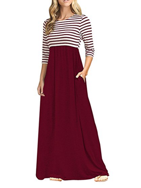 Women Daily Casual Cotton Paneled Striped Summer Dress