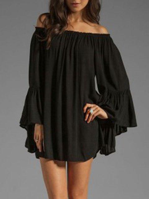 Off Shoulder  Shift Women Daily Long Sleeve Casual  Summer Dress