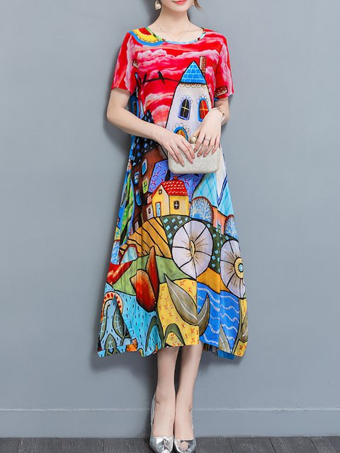 Red  Women Daily Half Sleeve Abstract Elegant Dress