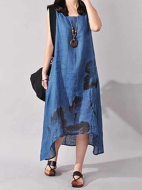 Asymmetrical Women Daytime Sleeveless Floral Casual Dress