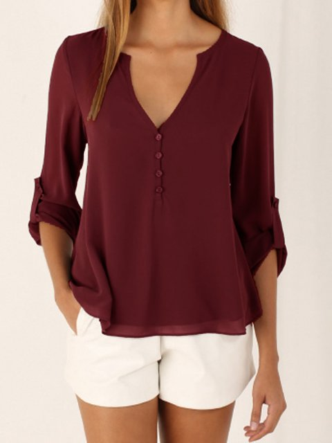 Chiffon Folds Long Sleeve V Neck Blouse