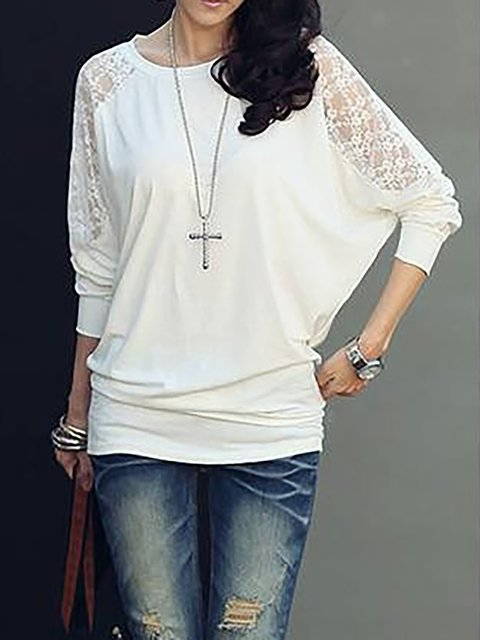 Lace  Batwing Crew Neck Printed Floral T-Shirt