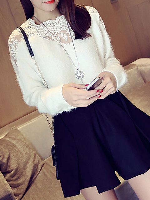 Casual Mohair Floral Crew Neck Long Sleeve Sweater