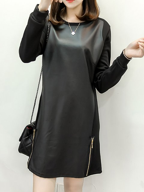Black Shift Women Daily Elegant Cotton Long Sleeve Paneled  Casual Dress