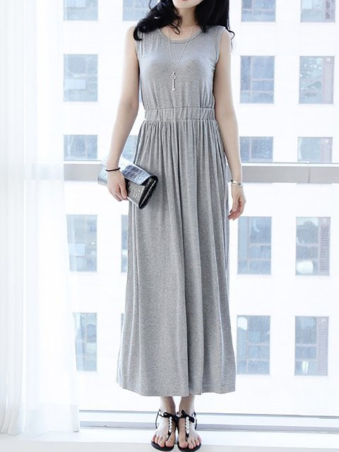 Women Daytime Sleeveless Casual Modal Paneled  Casual Dress