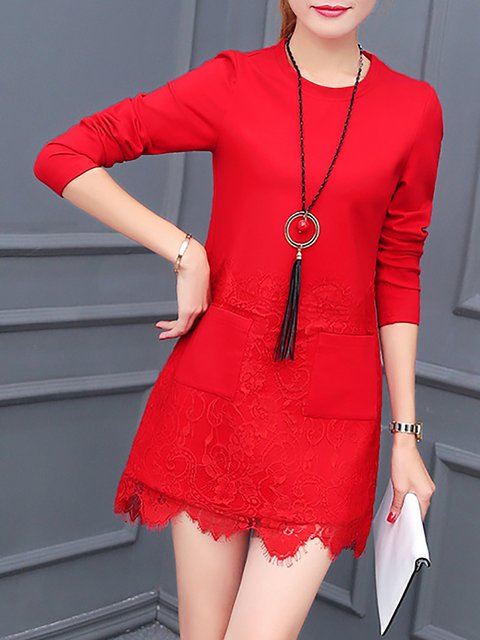 Women Daily Long Sleeve Elegant Cotton Elegant Dress