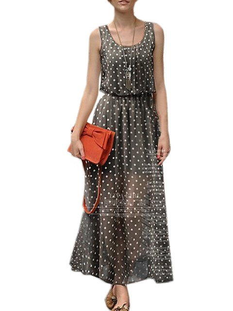 Swing Women Going out Sleeveless Elegant Polka Dots Summer Dress