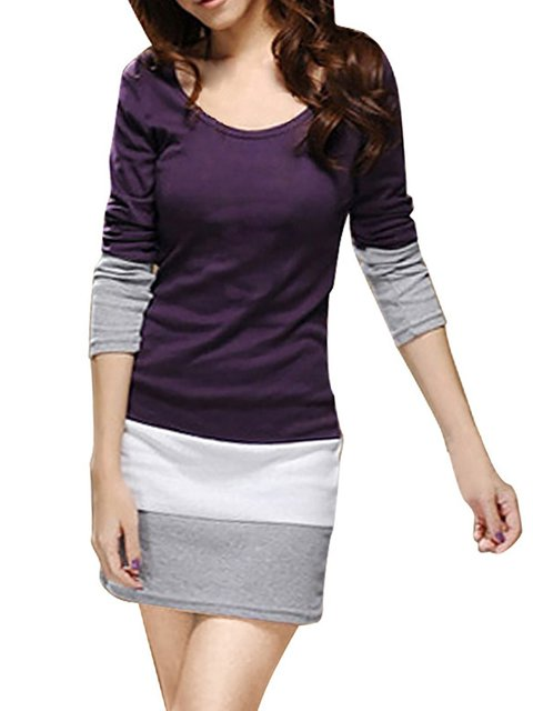 Women Long Sleeve Paneled Striped Casual Dress