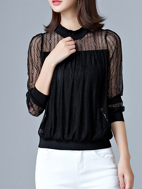 Polyester Long Sleeve Lace Paneled Casual T-Shirt
