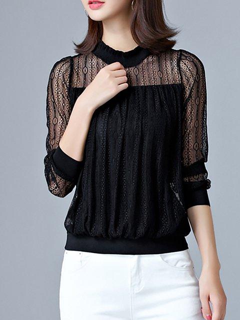 T Casual Paneled Polyester Long Shirt Lace Sleeve xXHn1qz6