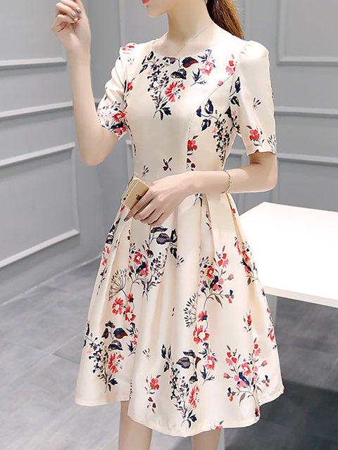 Pink A-line Women Daily Half Sleeve Printed Floral Elegant Dress