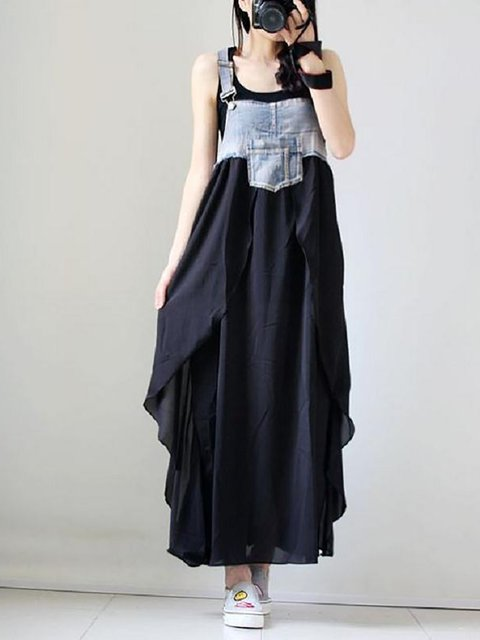 Black Women Going out Sleeveless Elegant Cotton Paneled  Casual Dress