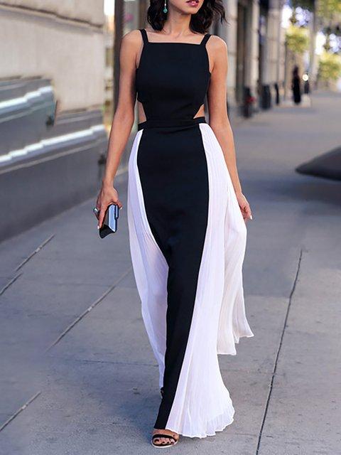 Black-white Swing Women Spaghetti Chiffon Paneled  Prom Dress