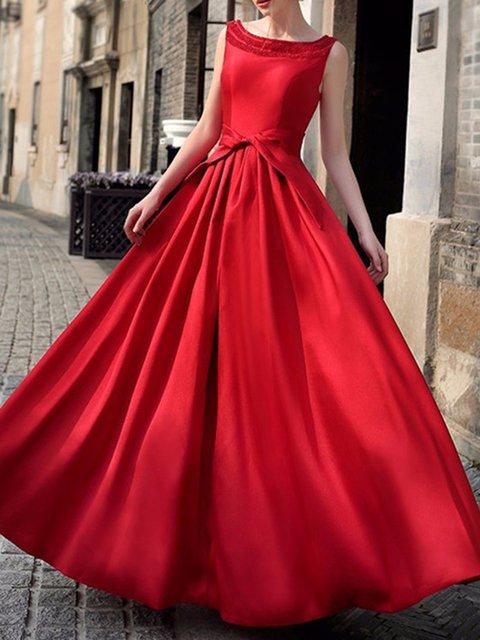 Bateau/boat neck  Swing Women Party Elegant Sleeveless  Solid Elegant Dress