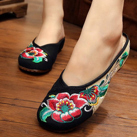 Floral Embroidery Slippers Open Heel Slip On Flat Shoes