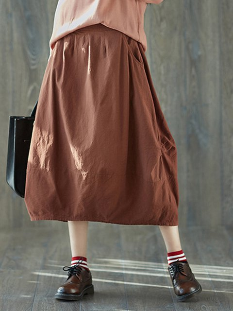Linen Pockets Solid A-line Skirt