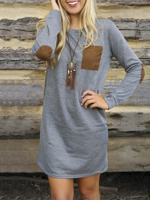Gray Sheath Women Daytime Long Sleeve Casual Plain Fall Dress