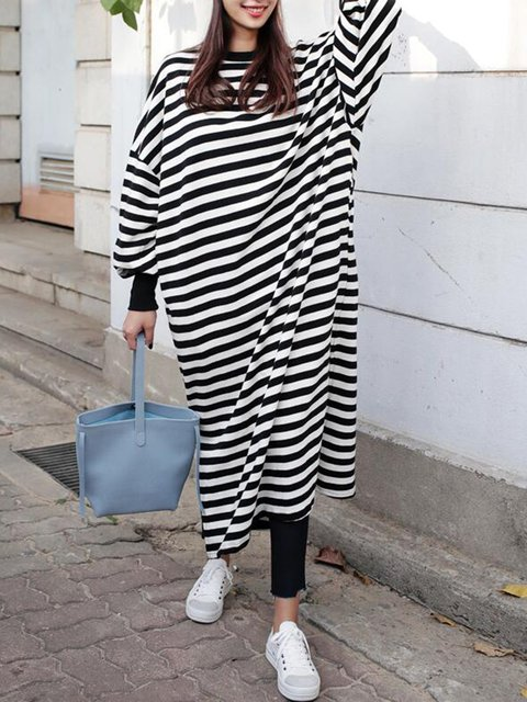 Shift Women Daytime Balloon Sleeve Casual Slit Striped Casual Dress