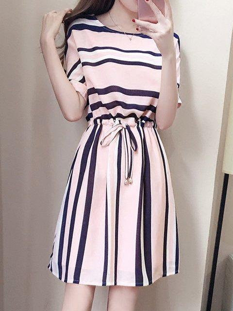 Pink  Women Daytime Stripe Half Sleeve Bow Striped Elegant Dress