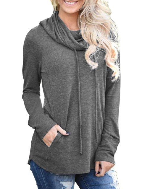 Plain Long Sleeve Casual Sweatshirts  Hoody
