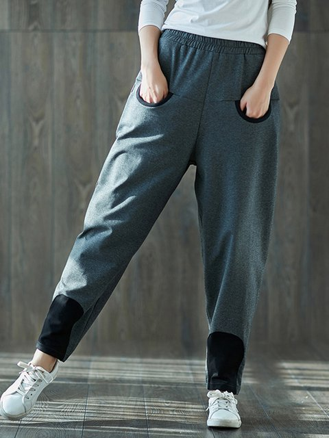 H-line Pockets Casual Pants