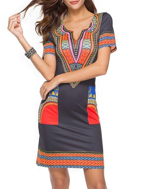 V neck  Sheath Women Daytime Short Sleeve Cotton-blend Printed Abstract Elegant Dress