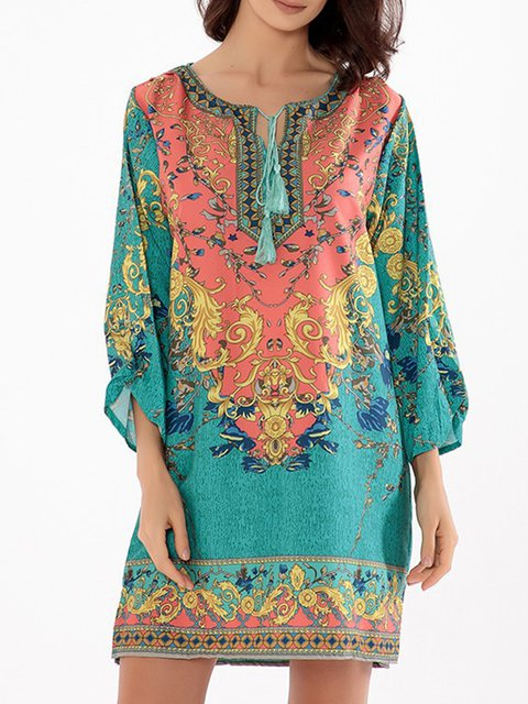 Multicolor Shift Women Daily Cotton-blend 3/4 Sleeve Printed Floral Dress