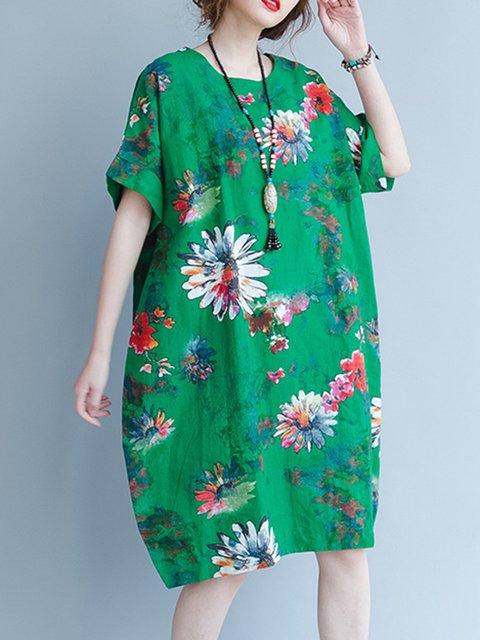 5520c58596c JustFashionNow Green Women Print Dress Crew Neck Shift Dress Short ...