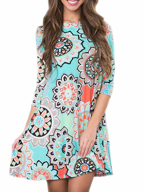 Swing Women Daytime Sexy 3/4 Sleeve Printed Tribal Floral Dress