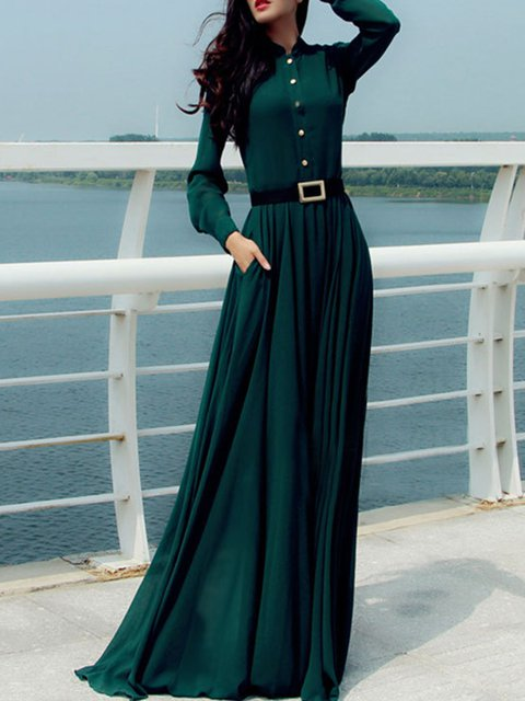 Shirt Collar Green  Women Going out Chiffon Long Sleeve Solid Elegant Dress