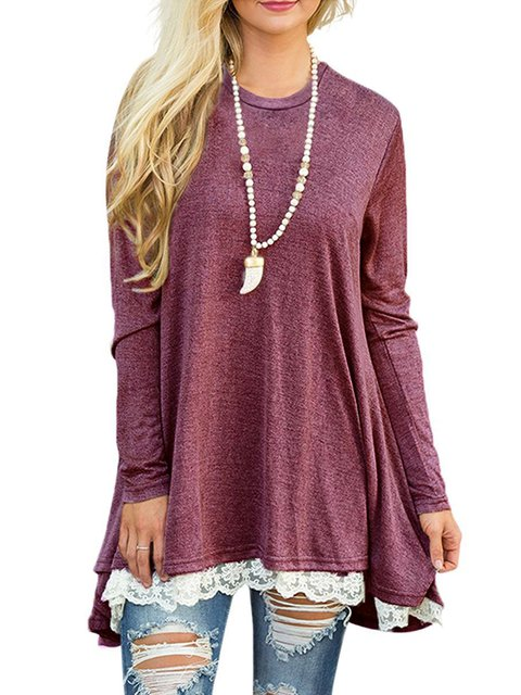 Women Daily Cotton-blend Casual Long Sleeve Paneled Fall Dress