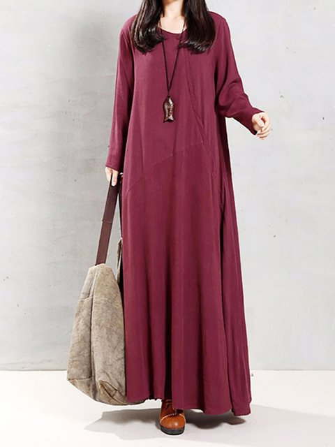 Shift Women Casual Cotton-blend Long Sleeve Paneled Casual Dress