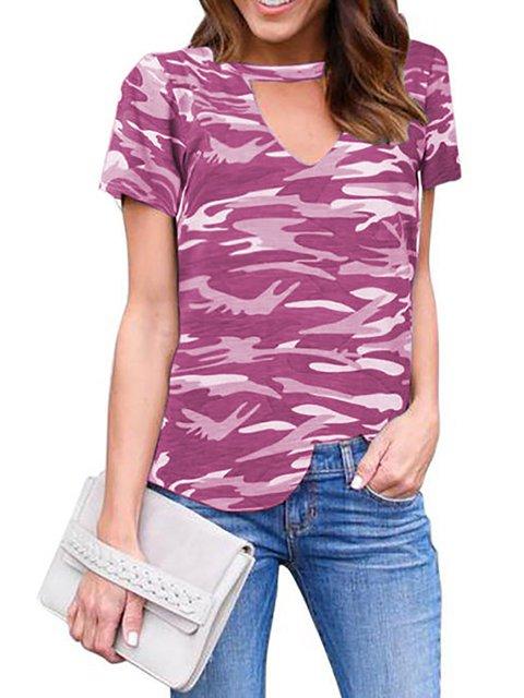 Short Sleeve V Neck Painted T-Shirt