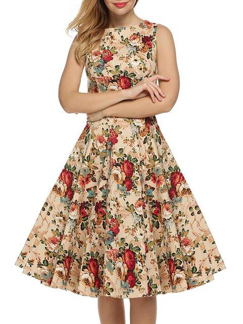 Swing Women Daytime Cotton Sleeveless Folds  Floral Dress