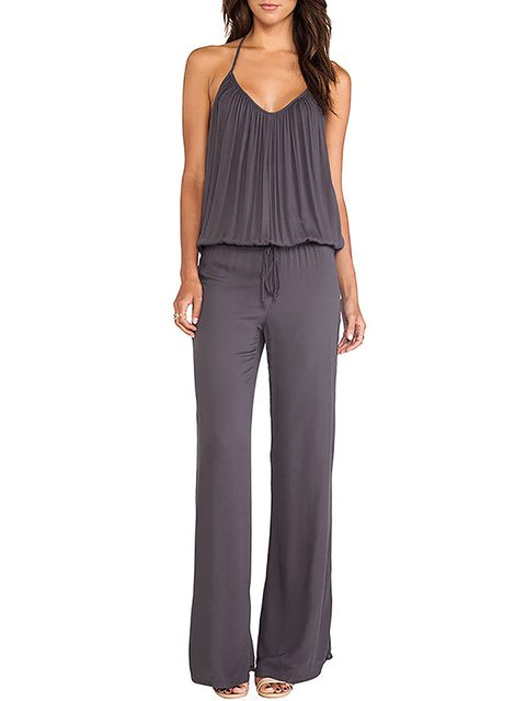 Halter High-rise Backless Jumpsuit