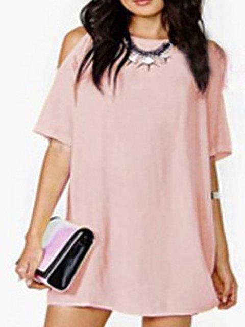 Women Daily Cold Shoulder Chiffon Binding  Summer Dress